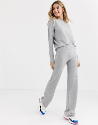Brave Soul soft yarn knitted co-ord in grey