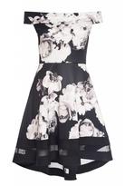 Quiz Black And Cream Floral Print Bardot Skater Dress