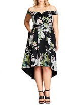 City Chic Off-The-Shoulder Floral High-Low Dress