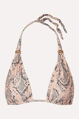 Vix Nusa Bia Embellished Snake-print Triangle Bikini Top - Snake print