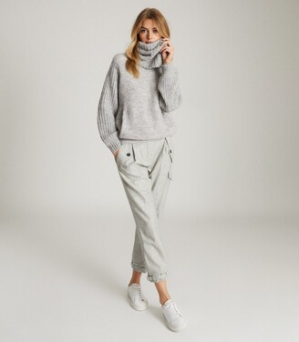 Reiss Emma - Chunky Roll Neck Jumper in Grey Marl