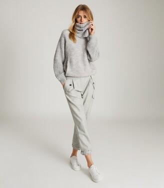 Reiss Emma - Chunky Roll Neck Jumper in Grey Marl