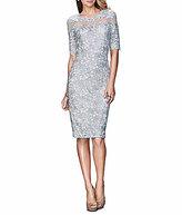 La Femme Illusion Neckline Lace Midi Sheath Dress