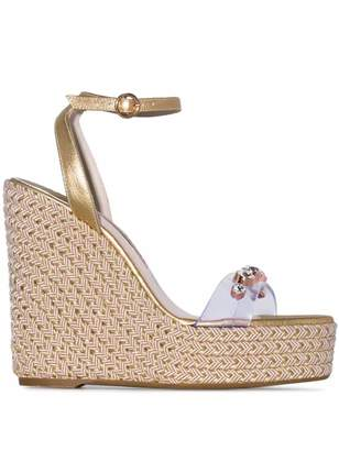 Sophia Webster metallic gold Dina 140 leather wedge sandals