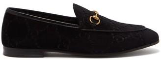 Gucci Jordaan Gg Velvet Loafers - Womens - Black