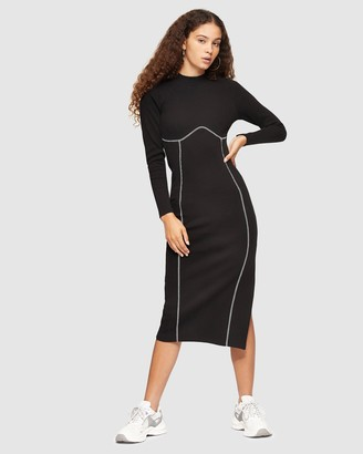 Topshop Women's Black Midi Dresses - Ribbed Long Sleeve Flatlock Midi Dress - Size 8 at The Iconic
