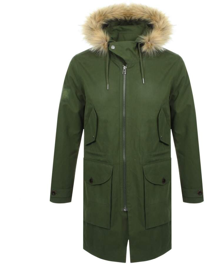 Pretty Green Hooded Parka Jacket Green