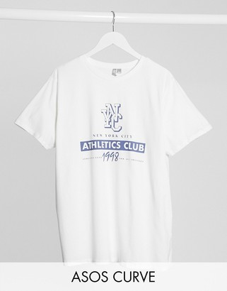 ASOS DESIGN Curve t-shirt with NYC athletics club in white