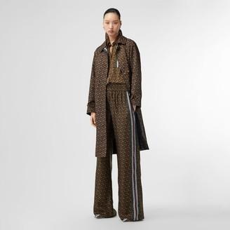 Burberry Monogram Stripe Print Silk Wide-leg Trousers