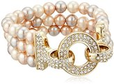 "Carolee The Plaza"" The Plaza White Pearl Triple Row Stretch Bracelet"