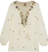 Figue Serena Embelllished Silk Blouse - White