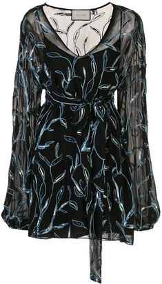 Alexis Lujana foliage embroidered dress