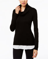 Calvin Klein Cowl-Neck Layered-Look Sweater