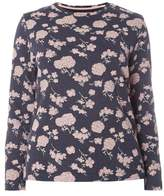 Evans Navy Blue Floral Print Lounge Top