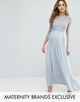 Queen Bee Lace Bodice Maxi Dress With Pleated Chiffon Skirt