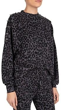 The Kooples Pierced Leopard Print Fleece Sweatshirt