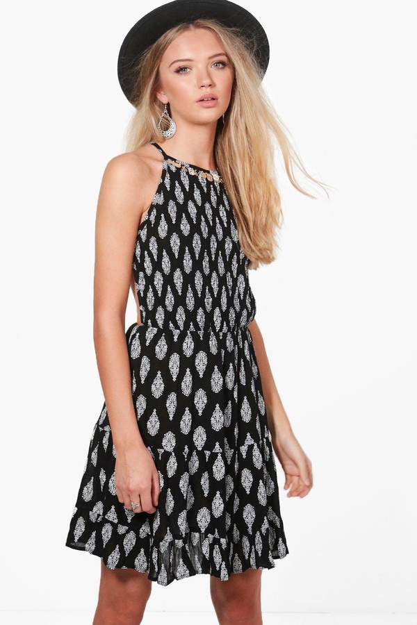 boohoo Sonia Halterneck Coin Printed Sun Dress