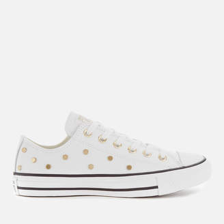 Converse Chuck Taylor All Star Studded Ox Trainers - White/Light Gold/Black