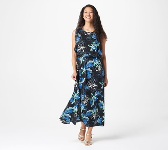 Du Jour Chiffon Maxi Dress with Faux Overlay