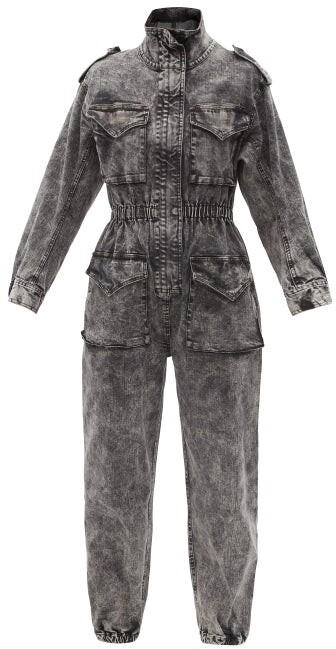 Thumbnail for your product : Norma Kamali Flap-pocket Denim Jumpsuit - Black Multi