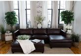 Elements Fine Home Furnishings Urban Cappuccino Top Grain Leather Sectional Sofa and Ottoman