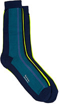 Paul Smith Men's Vertical-Striped Stockinette-Stitched Mid-Calf Socks-GREEN, NO COLOR