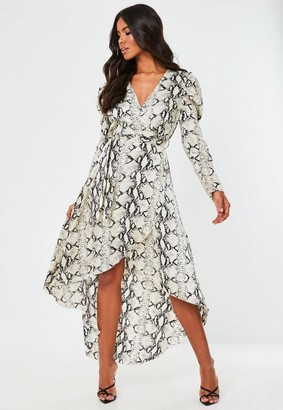 Missguided Gray Snake Print Puff Sleeve Wrap Midi Dress