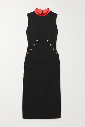 Givenchy Button-embellished Satin-trimmed Wool-crepe Midi Dress - Black