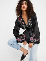 Free People Embroidered Satin Blazer