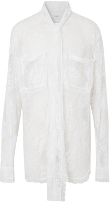Burberry Chantilly lace oversized shirt