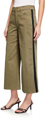 Frame Le Vintage Cropped Tuxedo-Tape Raw-Edge Pants
