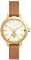 Tory Burch Collins Round Leather Band Analog Watch