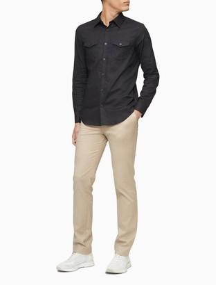 Calvin Klein Stretch Linen Blend Button-Down Shirt