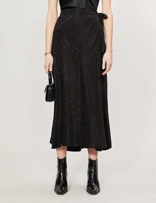Designers Remix Ruby tiger-print wrap-over woven midi skirt