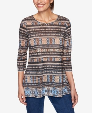 Ruby Rd. Plus Size Embellished Border Striped Top