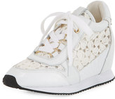 Ash Dreamlace Hidden-Wedge Leather Sneaker, White/Ivory