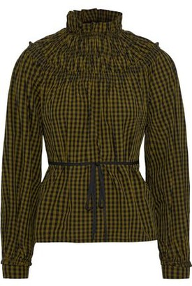 Proenza Schouler Ruffle-trimmed Shirred Gingham Cotton-poplin Blouse