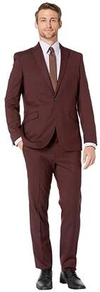 Kenneth Cole Reaction Slim Fit Stretch Performance Suit with 32 Finished Bottom Hem (Burgundy) Men's Suits Sets