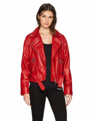 Hudson Women's Red Leather Jacket