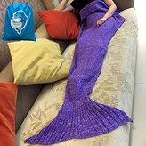"LAGHCAT Mermaid Tail Blanket Knit Crochet and Mermaid Blanket for Child, All Seasons Sleeping Blankets (56""X28"", Blue-Purple)"