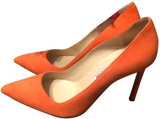 Manolo Blahnik Orange Suede Heels