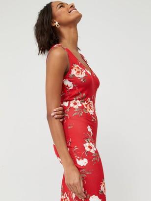Very V-Neck Jersey Maxi Dress - Red Print