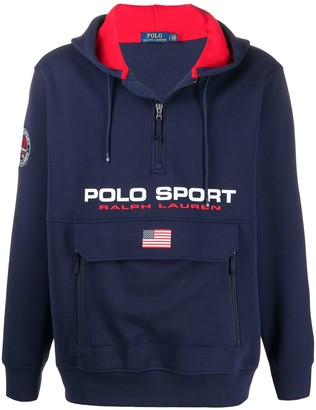 Polo Ralph Lauren Logo-Print Zipped Collar Hoodie