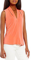 Calvin Klein V-Neck Pleated Shoulder Matte Jersey Shell