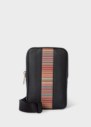 Paul Smith Black Leather 'Signature Stripe' Neck Pouch