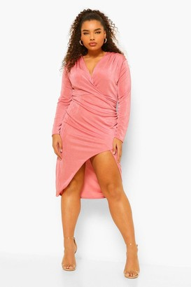 boohoo Plus Textured Slinky Wrap Midi Dress