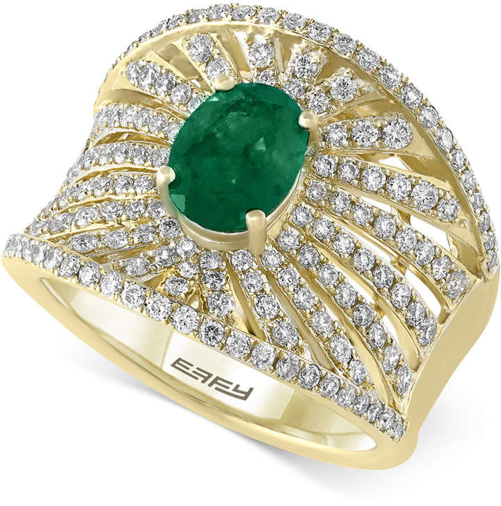 Effy Final Call by Emerald (1-1/8 ct. t.w.) & Diamond (1-1/10 ct. t.w.) Statement Ring in 14k Gold