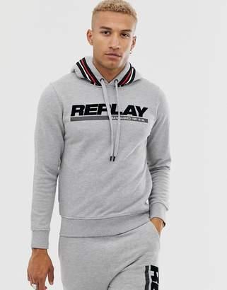 Replay co-ord flocked logo taped hoodie in light grey marl