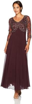J Kara Women's 3/4 Sleeve Geo Beaded Gown Petite