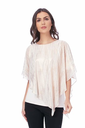 Roman Originals Women Metallic Stripe Overlay Asymmetric Top - 3/4 Sleeve Retro Sparkly Glitter Tops - Ladies Party Evening Going Out Cruise - Pink - Size 18
